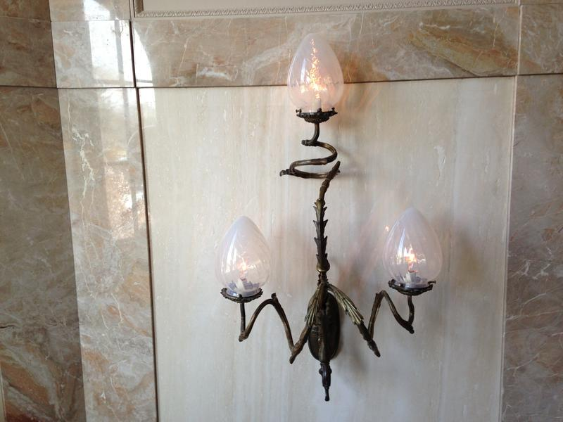 One of two French, Art Nouveau wall sconces.  Procured from a Chicago dealer in historical lighting fixtures. Restored and installed in a Fort Wayne residence in 1997.