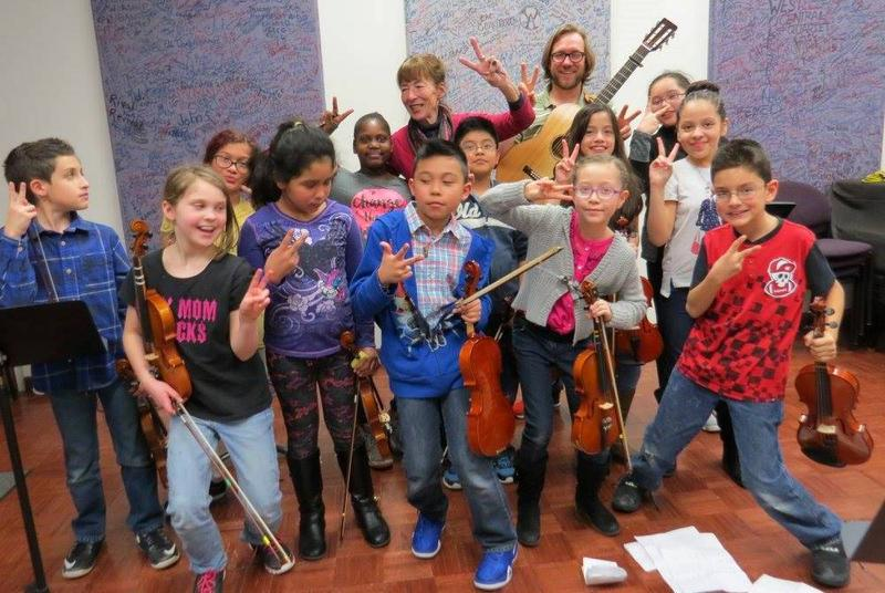 Exuberant members of the Fairfield Falcon Fiddle Club, post-recording session in the WBOI Meet the Music studio.