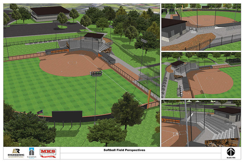 The softball diamond would replace a baseball diamond in the same location.