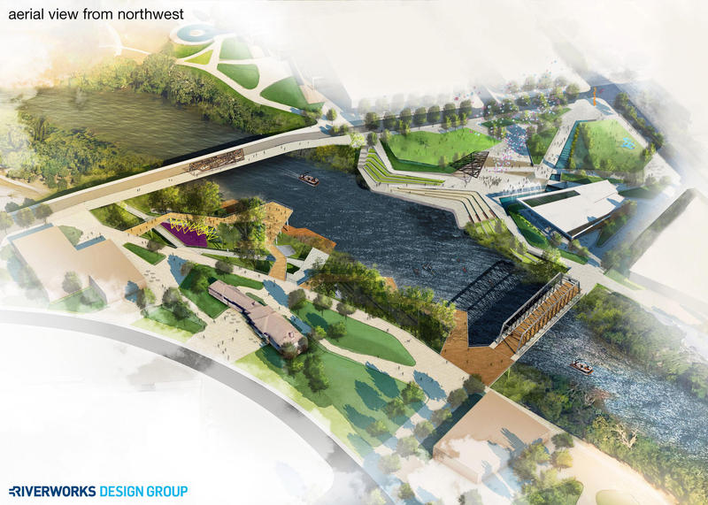 A digital rendering of the riverfront design