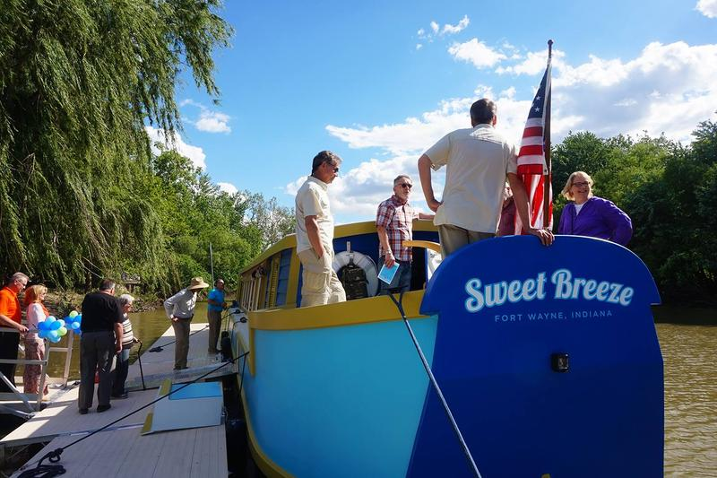 Christening day for Sweet Breeze, at the public boat dock in Headwaters Park West.