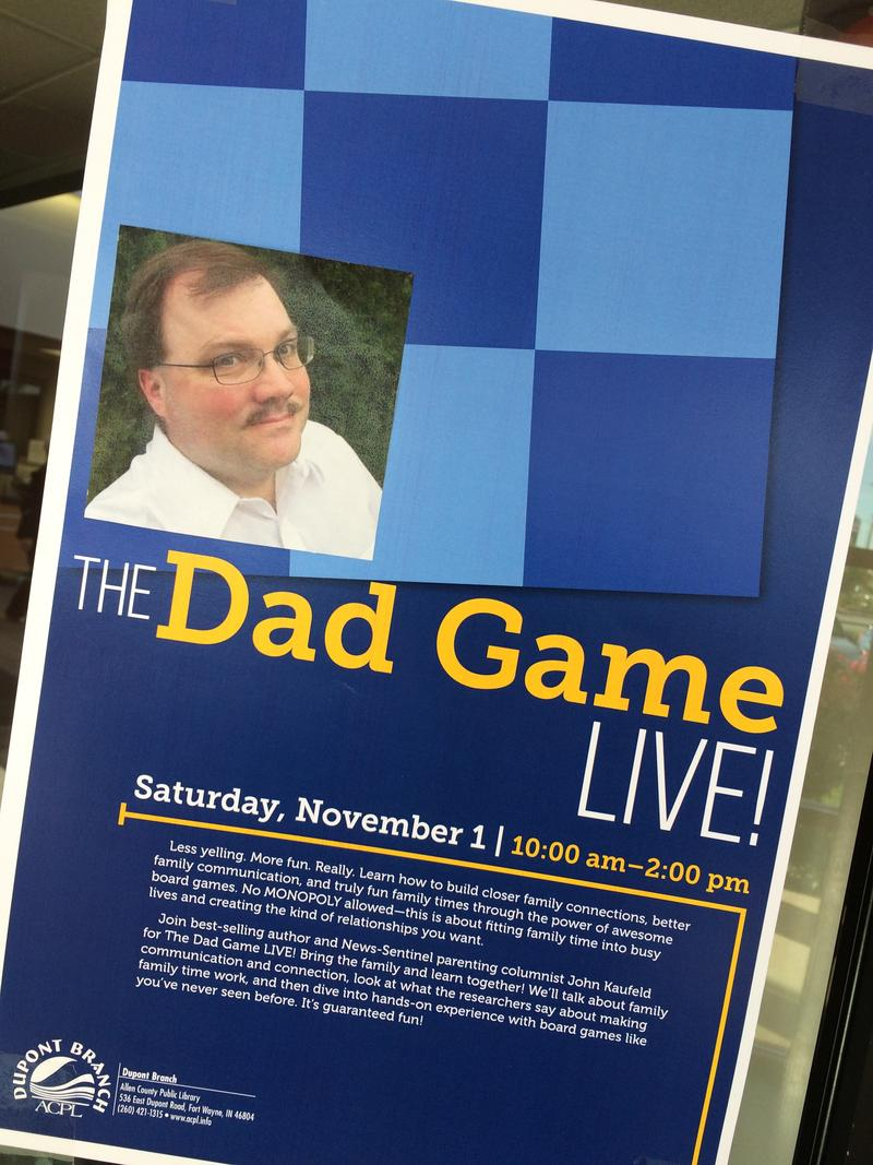 Live Dad Game lecture at the Allen County Public Library