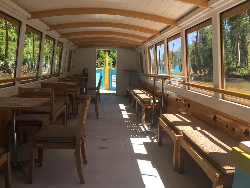 Interior view of Sweet Breeze, an authentic replica of an 1940's canal packet boat.