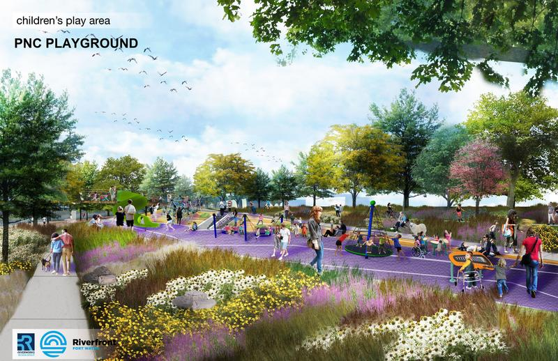 A digital rendering of the PNC Playground, part of Promenade Park.