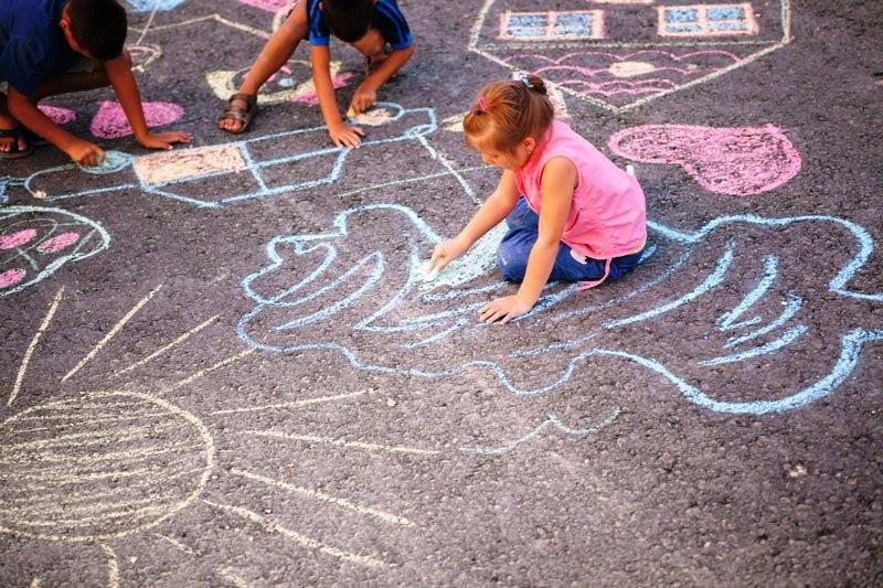 Chalk Graffiti Activity Hub in action