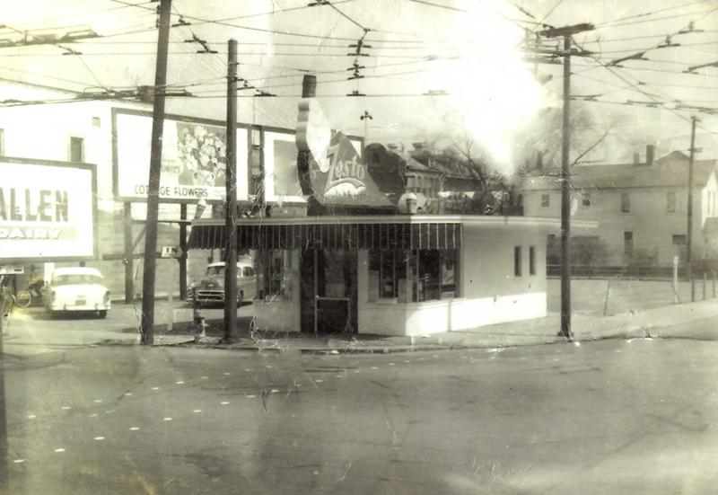 An early shot of Zesto on Broadway, complete with streetcar cables and tracks.
