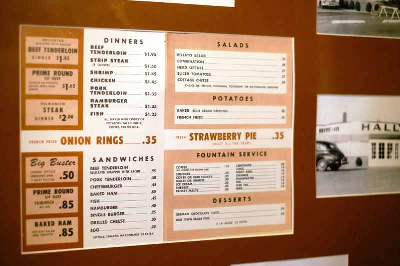 The menu from the  drive in's heyday.