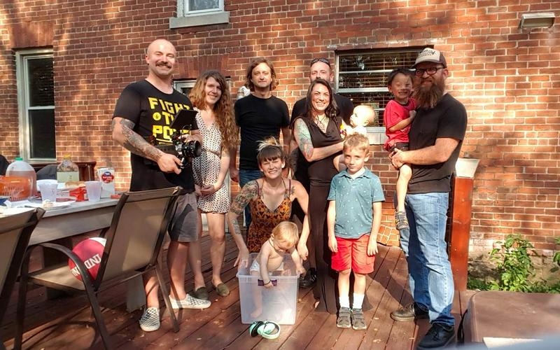 "Some of the musicians from Dreamcatchers' ""Heat Is Where the Heart Is"" cd project, ""taking five"" on a sunny recording session afternoon."