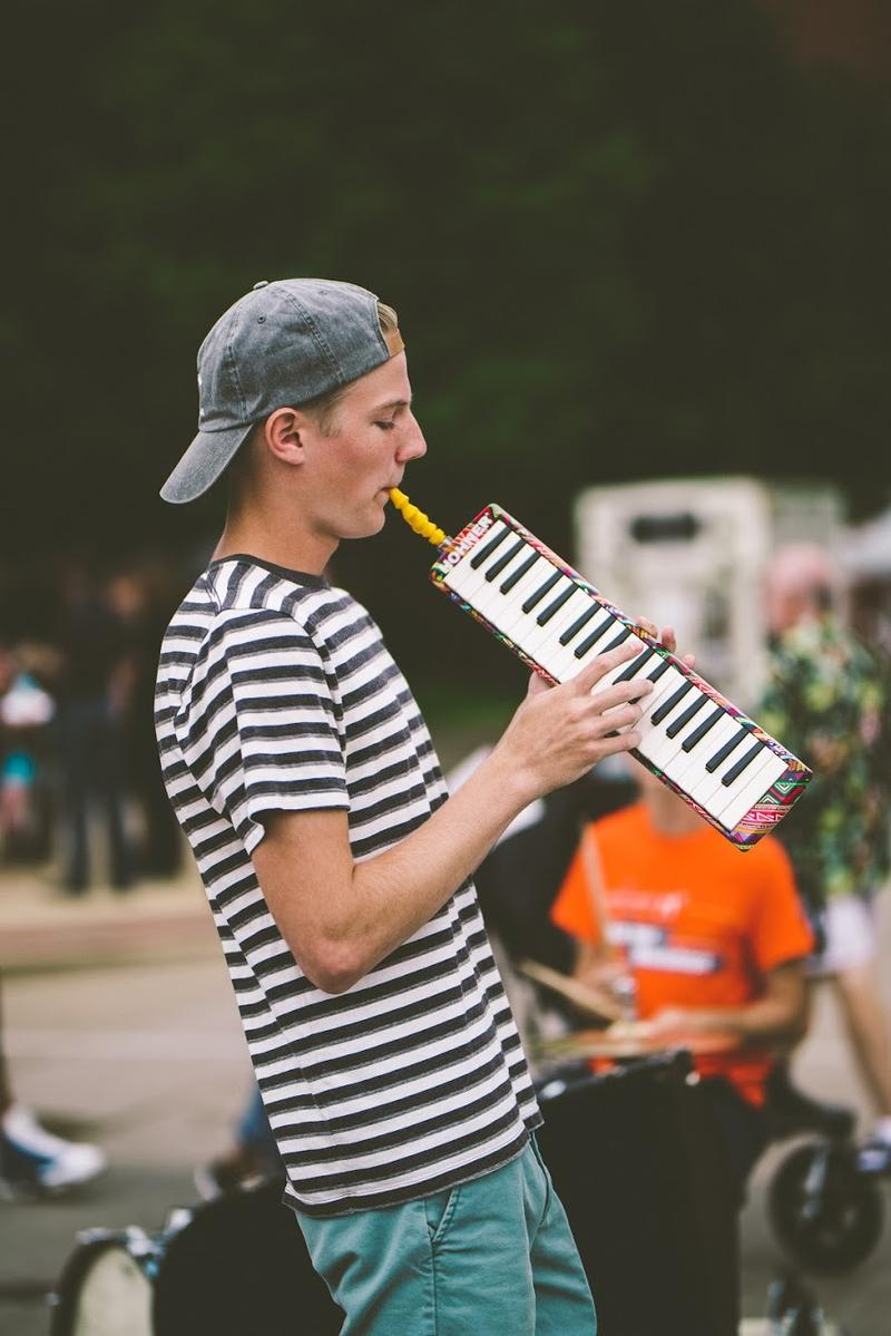 Equal time for melodicas at an event on the square in downtown Fort Wayne.