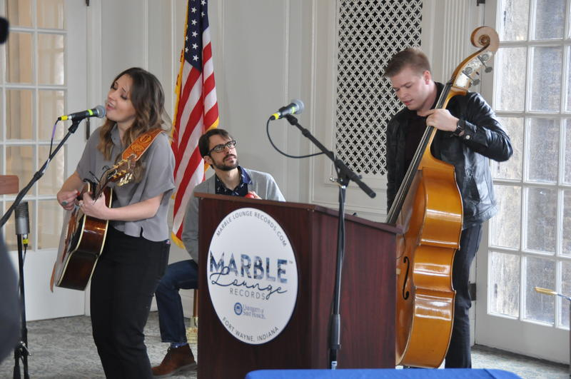 The band performing at the press conference, after Rosalind & The Way was announced winner of Marble Lounge Record's talent search