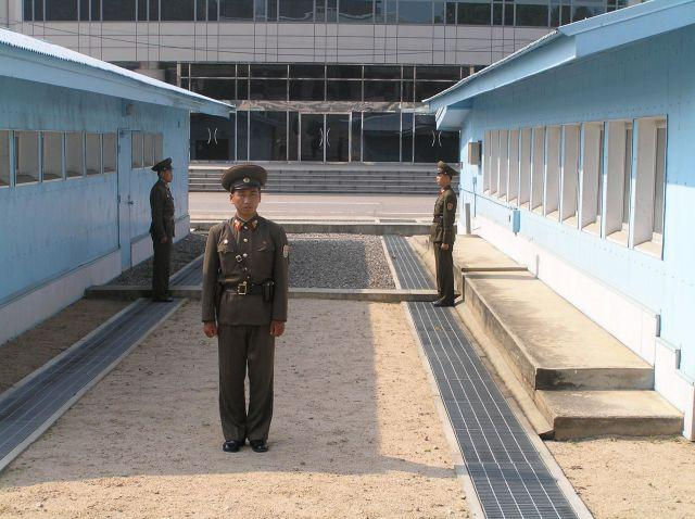 Soldiers at the DMZ on the Korean Peninsula