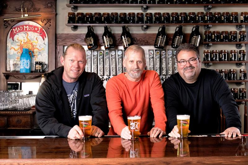 Co-founders Blaine Stuckey, Todd Grantham and Jeff Neels, toasting their 1st twenty years of local brewing at Mad Anthony, and looking forward to the next.