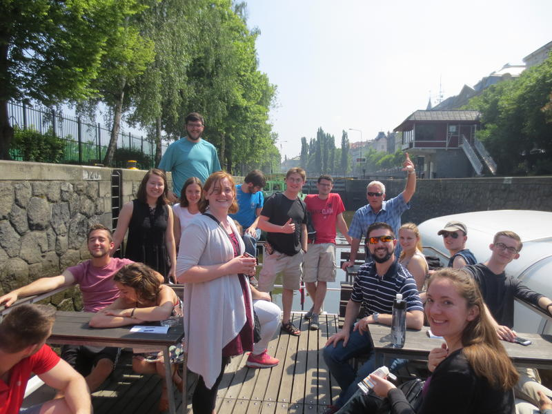 PFW's wind ensemble's 14 day tour of Germany included unforgettable excursions like this afternoon spent in Prague,  with Dean John O'Connell giving high sign of approval on upper right.