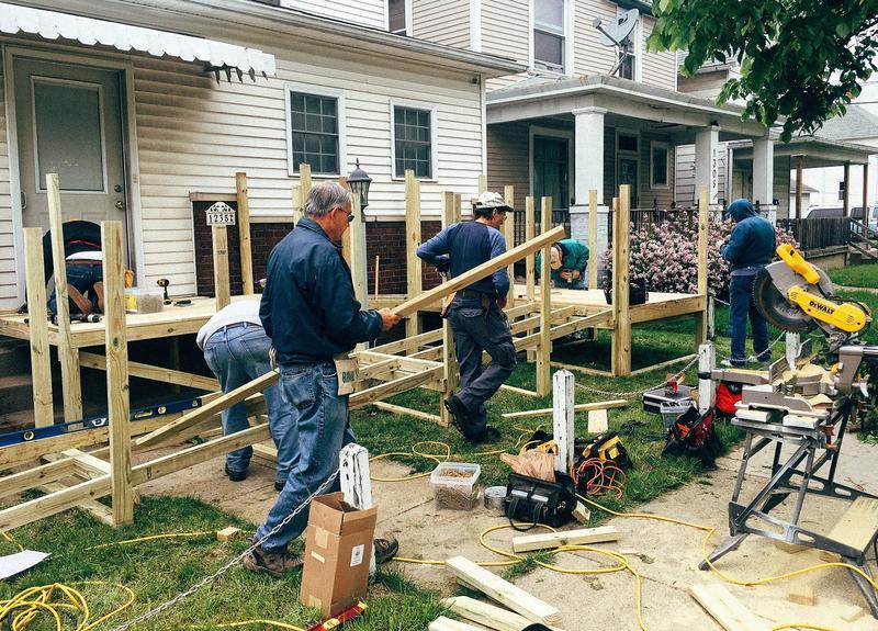 Ramp building crew in action
