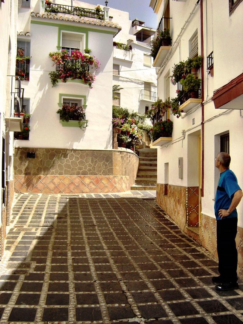 Teresa's husband Gary, surveying the streets of Competa, Spain.