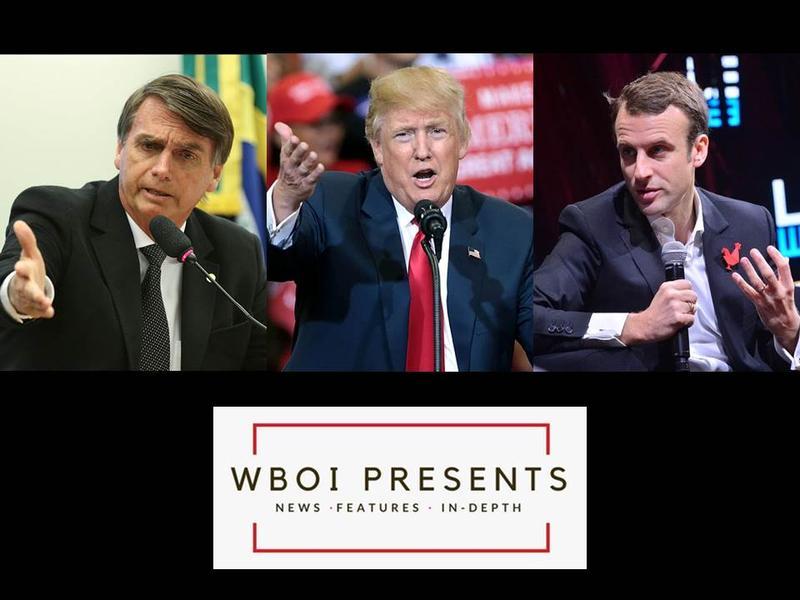 President-elect Jair Bolsonaro of Brazil, President Donald Trump, and President Emmanuel Macron of France