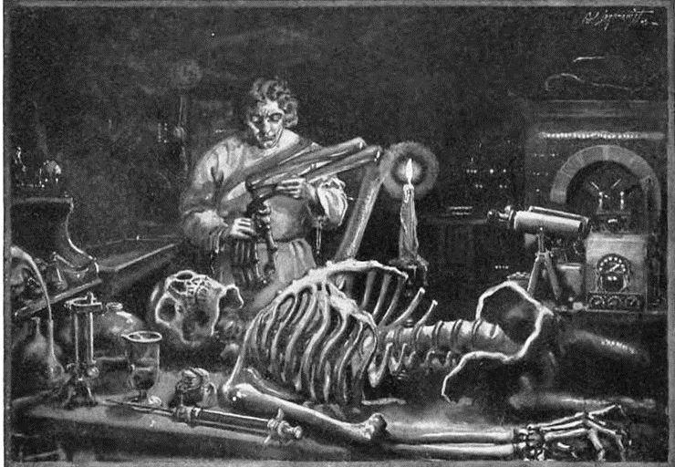 An illustration of Dr. Frankenstein, at work in his laboratory, from a later printing of Mary Shelley's classic novel.