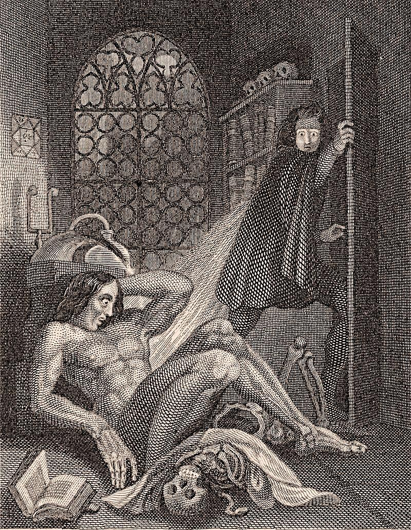 Frontispiece illustration of Frankenstein's monster, from the 1831 edition of Mary Shelley's novel.