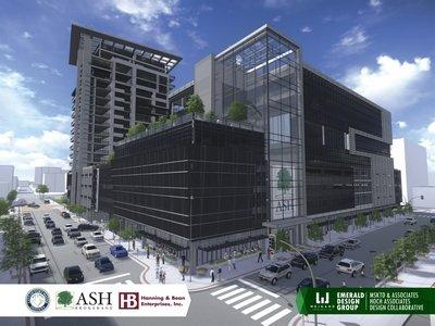 Rendering of the proposed multi-use development.