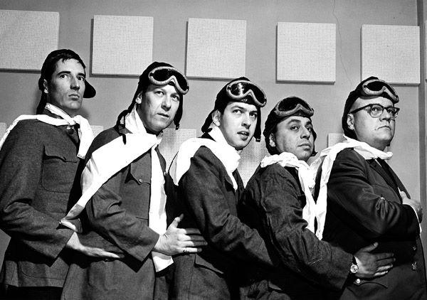 "Doug Gruber (left) in a publicity photo as one of WOWO's ""Air Aces"" in 1967. Gruber held a number of positions at the station in the 1960s."