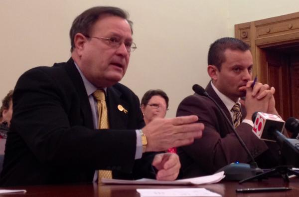 Indiana Sen. Michael Young and Rep. Jud McMillin testify before a Senate committee Wednesday.