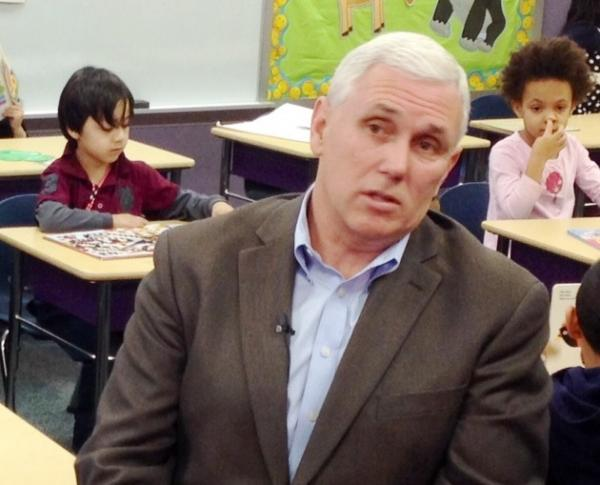 Gov. Mike Pence appeared in an Indianapolis classroom Wednesday as he again called on legislators to create a pre-K pilot program during the 2014 session.