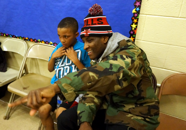 James Trimble and Dionee White after Dionee's basketball game - he plays for Washington Elementary.