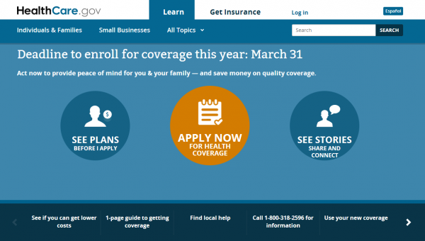 Healthcare.gov is the main portal for the federally-facilitated healthcare marketplace. The deadline to sign up for insurance under Obamacare is Monday.