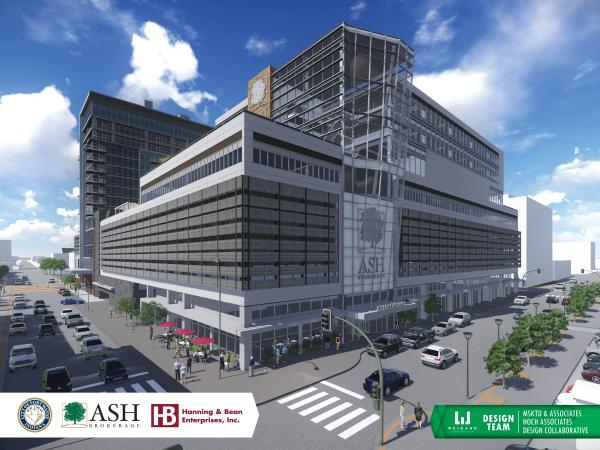 An artist rendering of the Ash Brokerage project planned for downtown Fort Wayne.