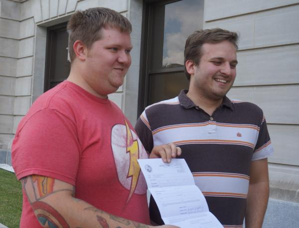 Josh Reid and Kenny Edholm were the first same sex couple in Allen County to receive their marriage license.
