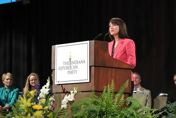Kelly Mitchell addressing the Indiana GOP convention in Fort Wayne after winning the party's nomination for State Treasurer.