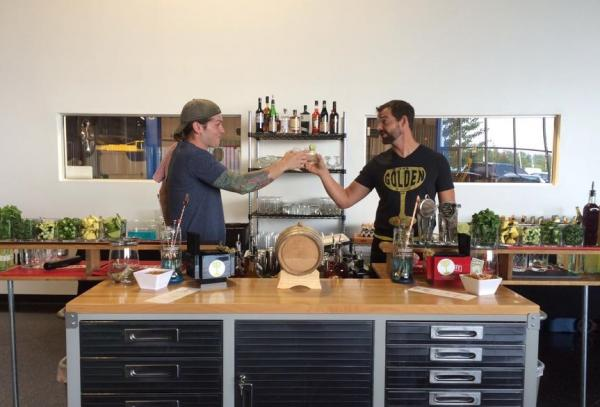 Sean Richardson and Aaron Butts of Fort Wayne's The Golden share a few minutes over a drink. The Golden is a pop-up business dedicated to creating craft cocktails.