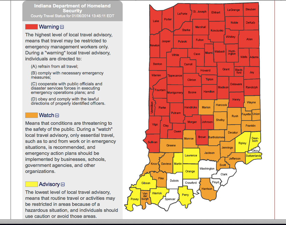 INDOT Warnings Abound Roads Still Dangerous – Indiana Travel Map