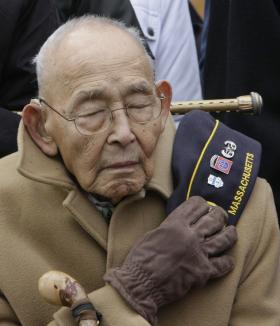 World War II veteran Wesley Ko attends Veterans Day services in Falmouth in November 2010.
