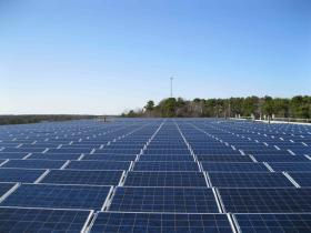 Solar panels atop the Yarmouth Dennis Waste Water Treatment facility.