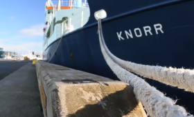 The R/V Knorr at dock in Reykjavik, Iceland, before a 2011 expedition to the Denmark Strait.