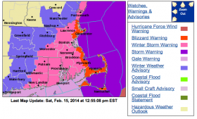 Map from the NWS as of 1pm 2/15/14