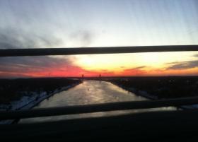 Railroad bridge, seen from Bourne bridge, over the Cape Cod Canal