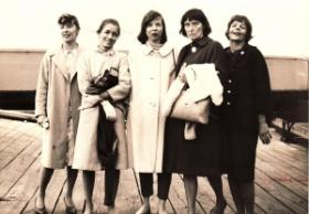 Five Civil Rights Activists on Martha's Vineyard in the 60's, Nancy Whiting, Peg Lillienthal, Virginia Mazer, Polly Murphy, and Nancy Smith.