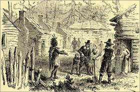 Samoset speaks English to the British colonist