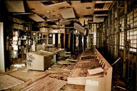 """Ruin porn"" showing an old control room in New Orleans' closed Market Street Power Plant."