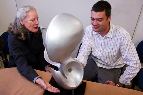 Artist Cornelia Kavanagh visited WHOI biologist Gareth Lawson's lab in November 2011 to show him some of the pteropod sculptures on which she was working.