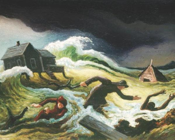 Bill Sargent selected Thomas Hart Benton's depiction of a family fleeing a storm surge for the cover of his book.
