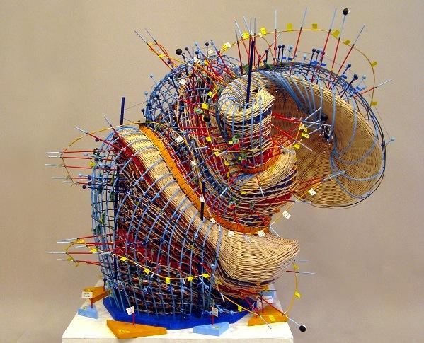 Nathalie Miebach's woven sculptures interpret oceanographic data.