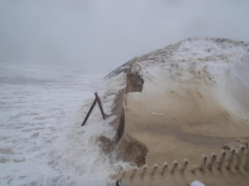 Erosion underway at Cold Storage Beach in Dennis on Saturday, February 9th.