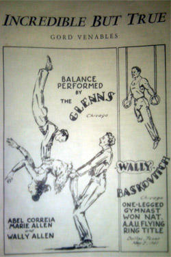 The Three Glenns were well known for their acrobatics and strength moves. The group was featured in this August 1947 installment of Strength and Health Magazine.