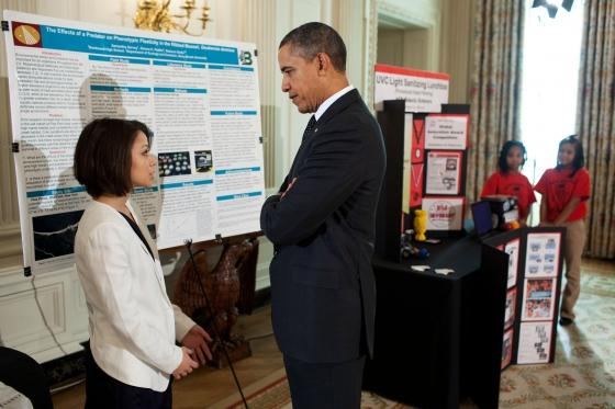 President Obama talked with Samantha Garvey, 18, of Bay Shore, N.Y., about her environmental sciences project at the second White House science fair.