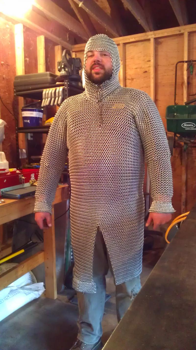Matt in his magnum opus, the chainmail shirt