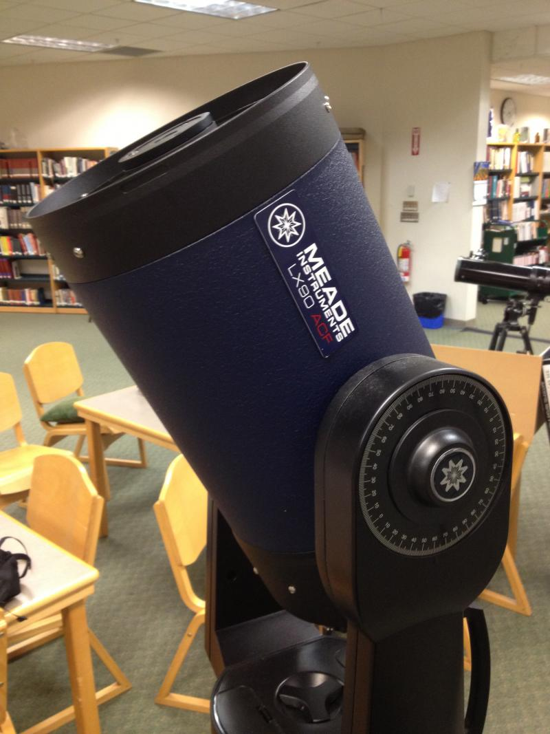 "A ""Go To"" Meade LX90 ACF Telescope, which will automatically find objects in the night sky."
