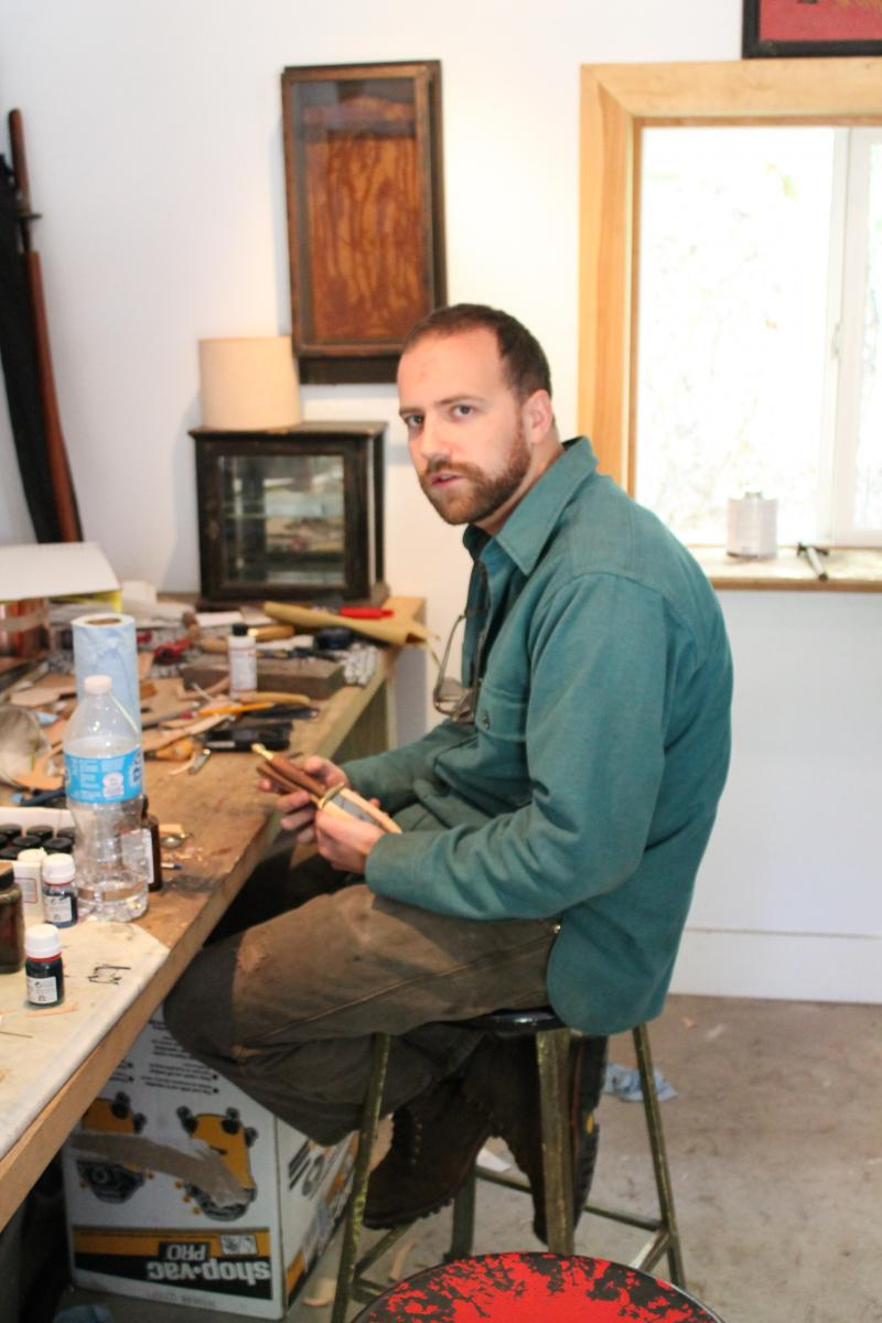 Sam Densmore in his studio.